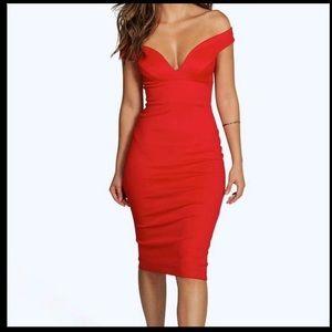 Boohoo Red Off Shoulder Dress